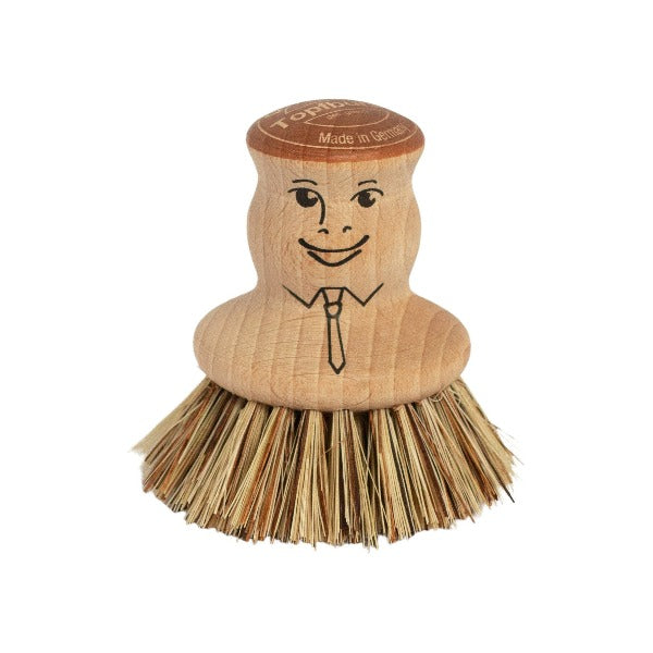 Natural Wooden Pot brush with plant bristles
