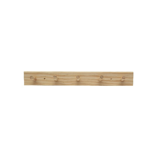 Wooden Wall Hung Peg Rack - 5 Pegs