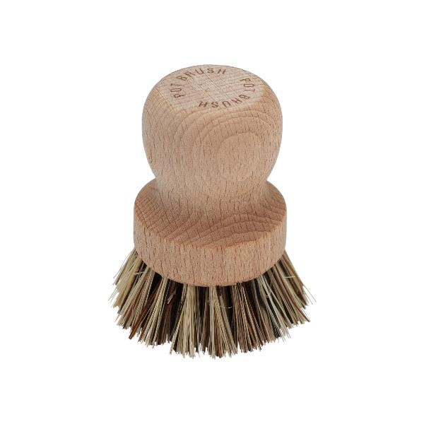 Wooden Pot brush with plant bristles