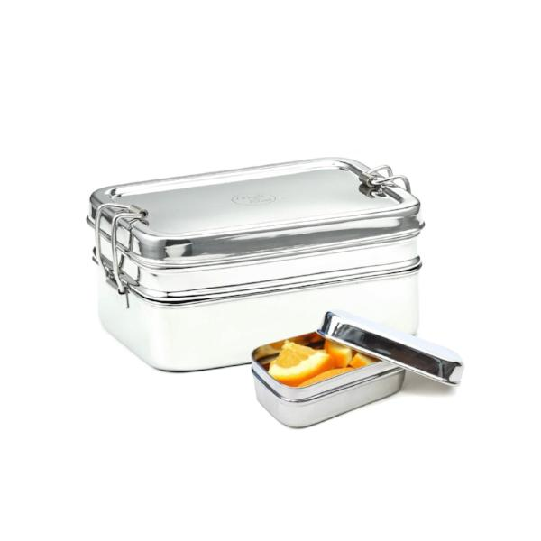 Double-Layer Rectangular Stainless Steel Lunchbox