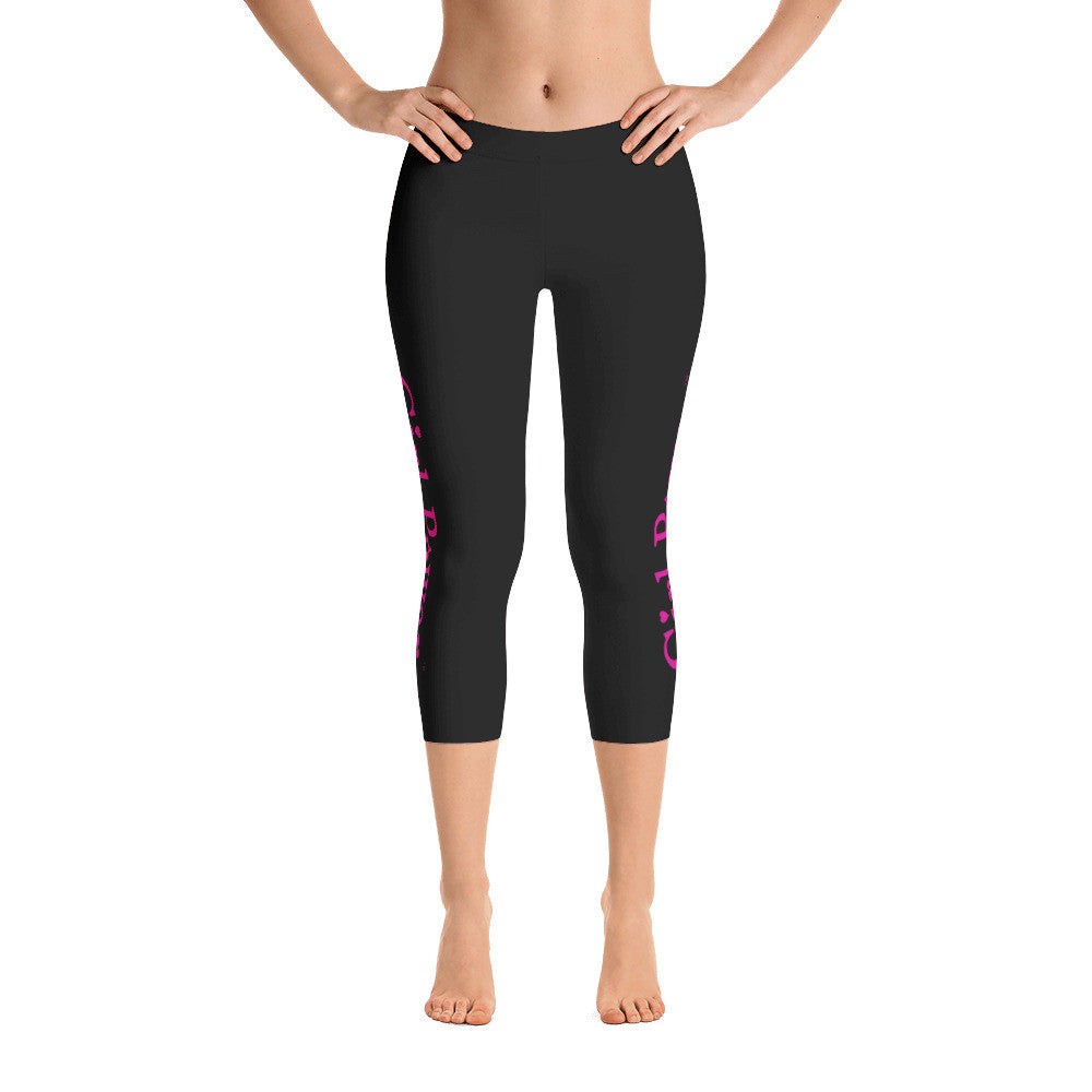 Girl Power Capri Leggings (Pink Text)