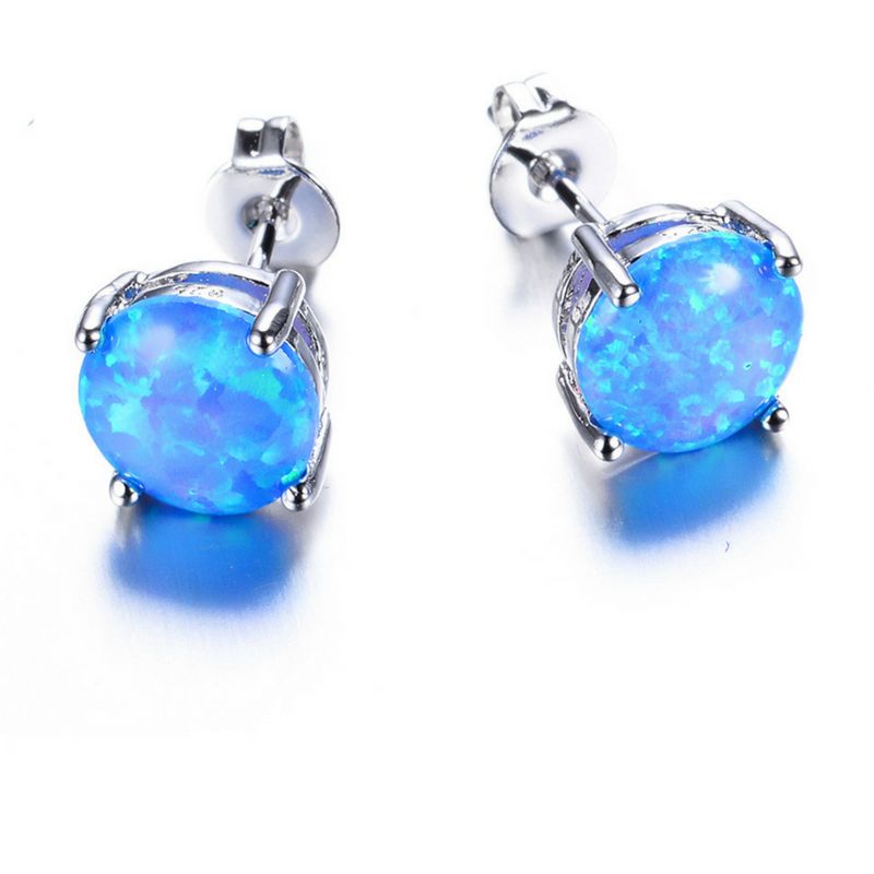 blue earring stud crystals shaped clear opal fire p square asp stone