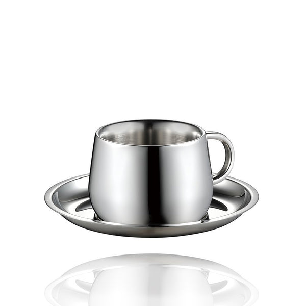Coffee Cup and Saucer (3oz) - Stainless Steel Table Serveware