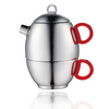 Teapot and Cup for One Set- Stainless Steel Table Serveware with Silicon Handle