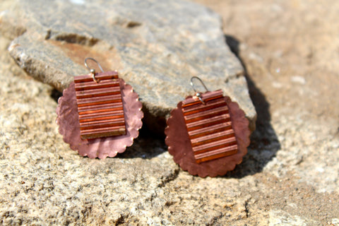 Copper Earrings, layered shapes and textures.