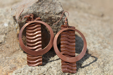 "Copper ""Shapes & Texture"" Earrings"