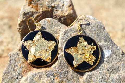 Golden Star Reflections Earrings