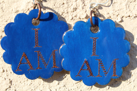 """I AM"" Blue-Copper Bloom Earrings"