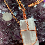 Selenite Copper Wrapped Pendant - For the Love of Natural Living, LLC