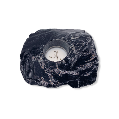 Black Obsidian Candle Holder - For the Love of Natural Living, LLC
