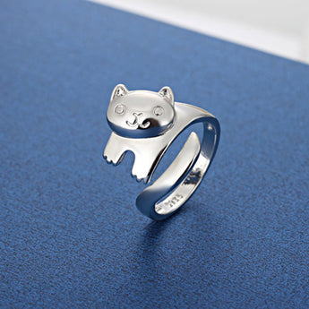 Happy Cat Silver Plated Wrap Ring