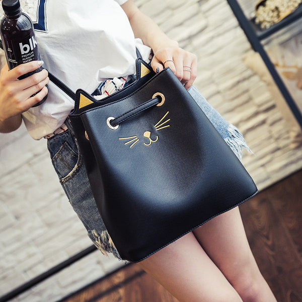 Coco Cat Chic Vegan Leather Bucket Bag