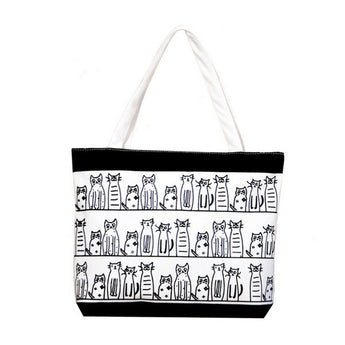 Cat Crazy Canvas Tote Bag