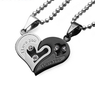 Couples Hip Hop Love Heart Necklaces