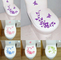 Butterfly Flower Vine Stickers for Toilet