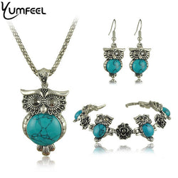 Owl Jewelry Sets -Tibetan Silver Turquoise Stone