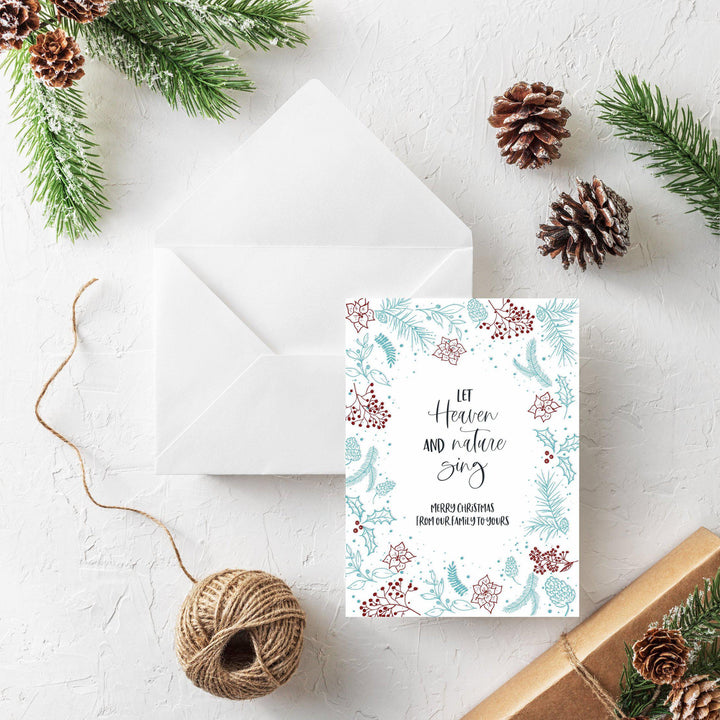 Letterpress Holiday Christmas Card, Let Heaven and Nature Sing