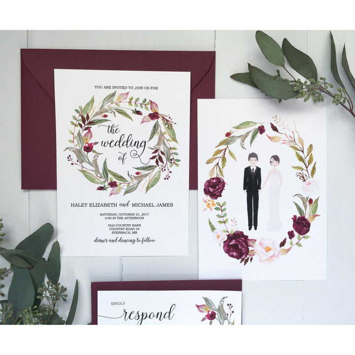 burgundy floral wedding invitation couple illustration invitation