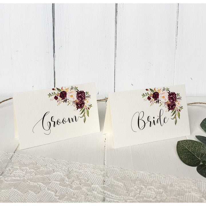 Marsala Place Cards, Escort Cards