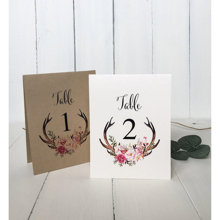 boho table numbers, rustic wedding table number