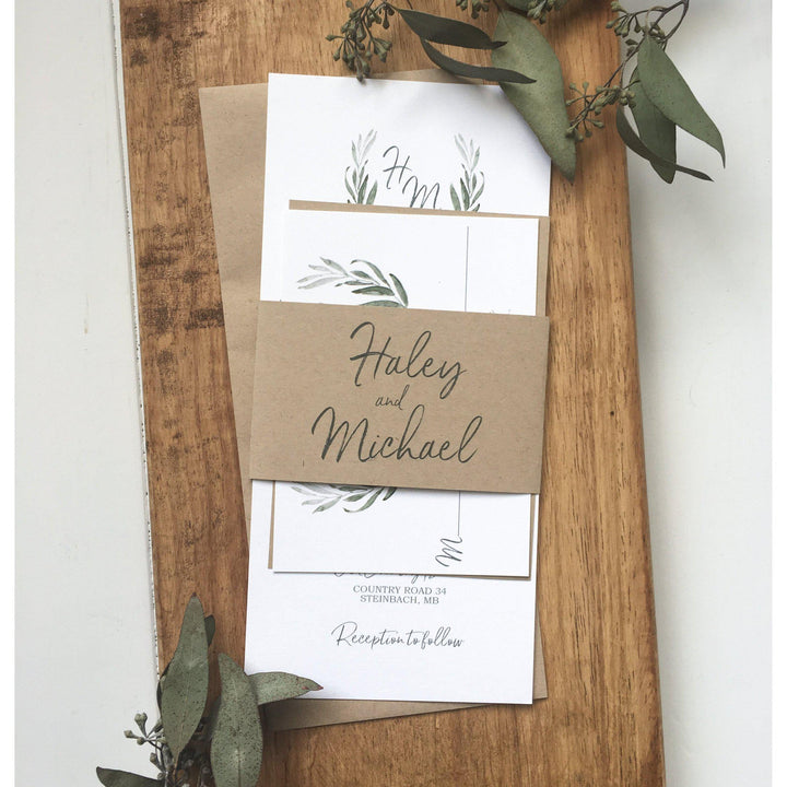 Rustic Wedding Invitation, Modern Calligraphy-Wedding Invitation Suite-Love of Creating Design Co.