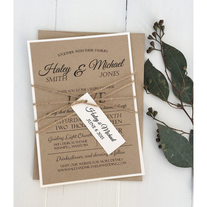 Rustic kraft, Modern-Wedding Invitation Suite-Love of Creating Design Co.