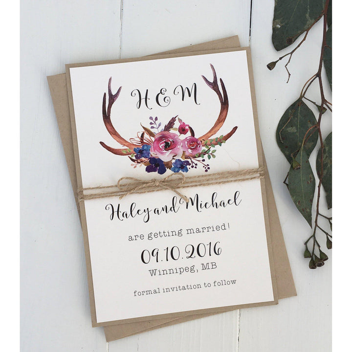 rustic save the date card, antler wedding card