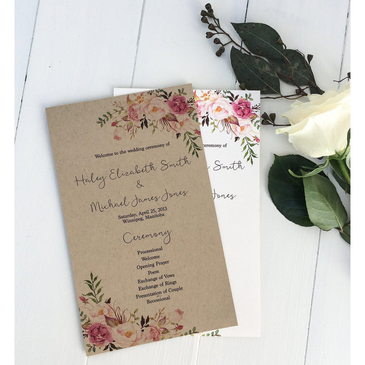 wedding program, order of events, rustic wedding, boho chic