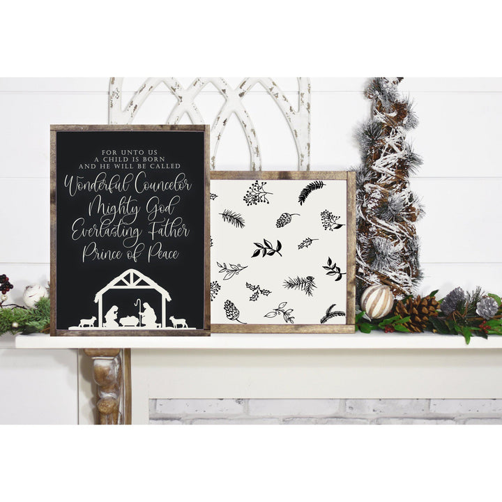 For Unto Us Is Born Rustic Christmas Wooden Sign