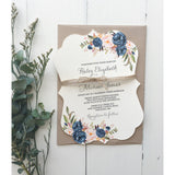 Navy Elegant Floral-Wedding Invitation Suite-Love of Creating Design Co.