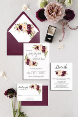 Blush and Burgundy Floral Wedding Invitation Suite Digital Download