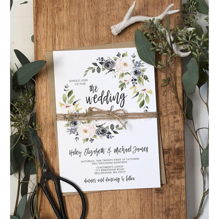 rustic dusty blue wedding invitation