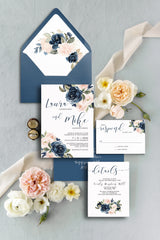 Blush and Navy Floral Wedding Invitation Suite Printable