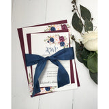 marsala wedding invitation, burgundy wedding invitation, floral wedding invitation