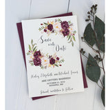 marsala floral save the date
