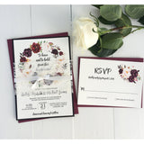 burgundy wedding invitation, marsala wedding invitations, lace wedding