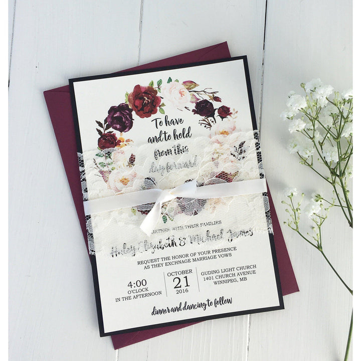 burgundy floral wedding invitation, marsala wedding
