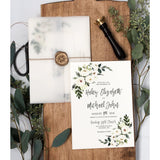 Vellum wrapped wedding invitation, rustic wedding