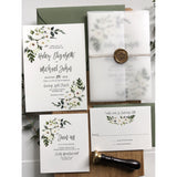 white floral vellum wedding invitation