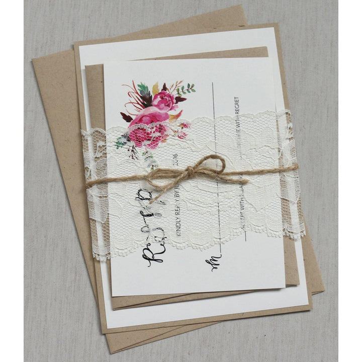 Rustic Boho Lace-Wedding Invitation Suite-Love of Creating Design Co.