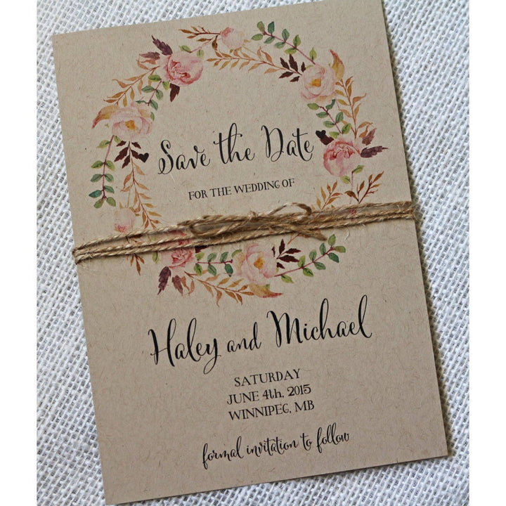 Rustic Floral Boho-Save the Date-Love of Creating Design Co.
