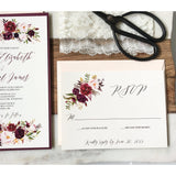 Burgundy and Blush Pink, Lace Wedding Invitation-Wedding Invitation Suite-Love of Creating Design Co.