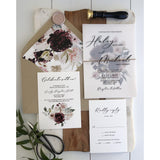 Vintage Vellum Wedding Invitation, Burgundy and blush pink Florals