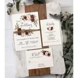 Rustic Marsala Wedding Invitation, Burgundy Wedding