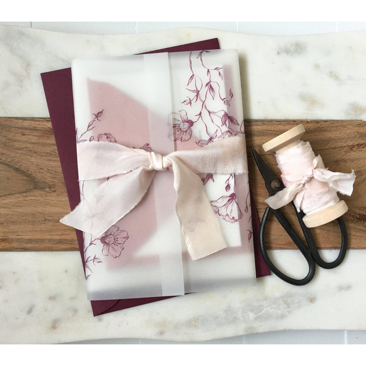 Elegant Burgundy Vellum Wrapped Wedding Invitation-Wedding Invitation Suite-Love of Creating Design Co.