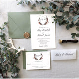 Rustic Vellum Wedding Invitation, Greenery Antlers