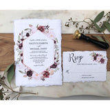 Burgundy Floral Wedding Invitation, Handmade, Deckled Edge
