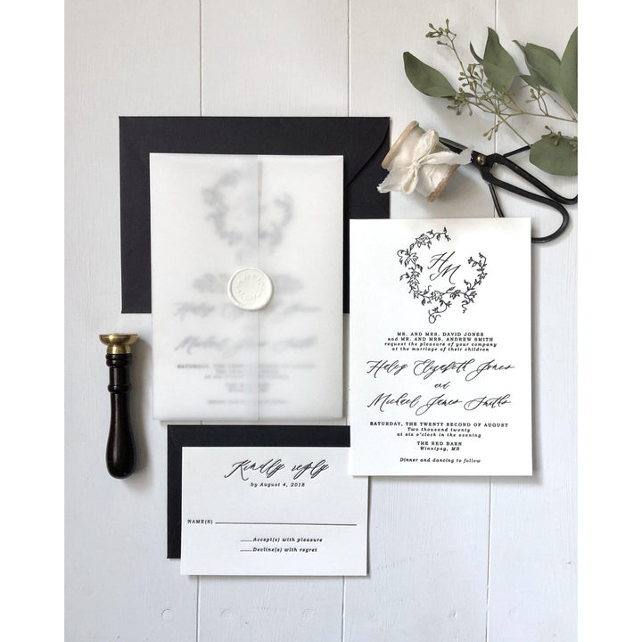 Vellum Wrap, Classic Modern Letterpress Wedding Invitation