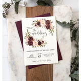 Rustic Marsala Wedding Invitation