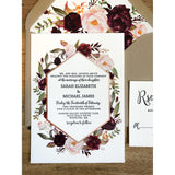 Letterpress Wedding Invitation, Marsala and Blush Floral
